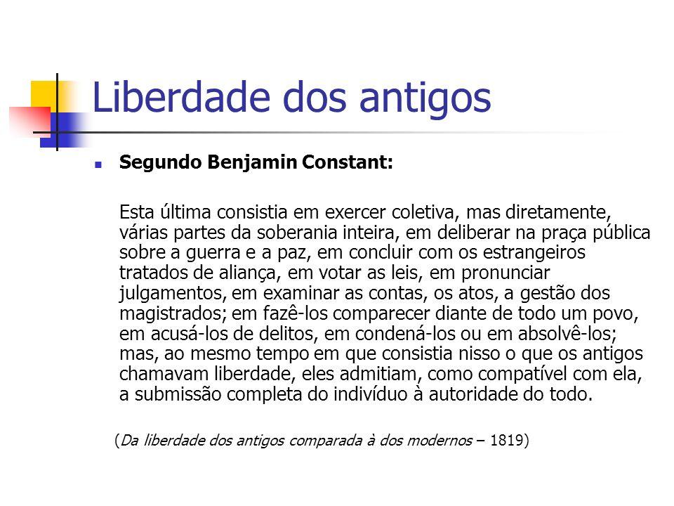 Liberdade dos antigos Segundo Benjamin Constant: