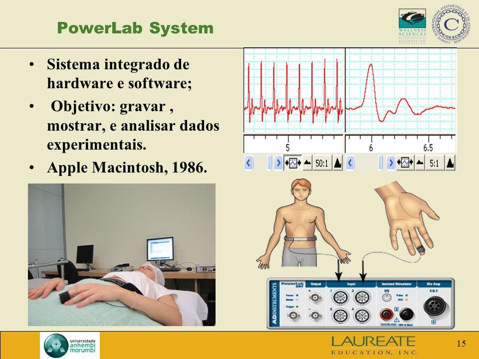PowerLab System Sistema integrado de hardware e software; Objetivo: gravar , mostrar, e analisar dados experimentais.