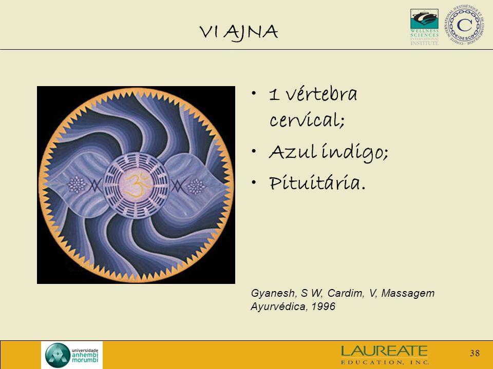 VI AJNA 1 vértebra cervical; Azul índigo; Pituitária.