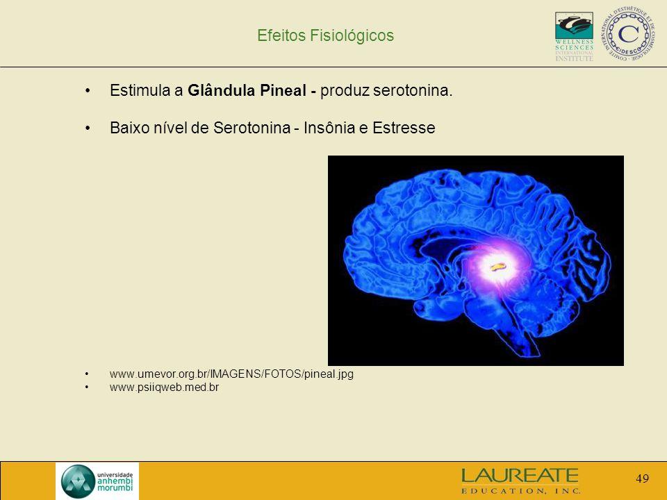 Estimula a Glândula Pineal - produz serotonina.