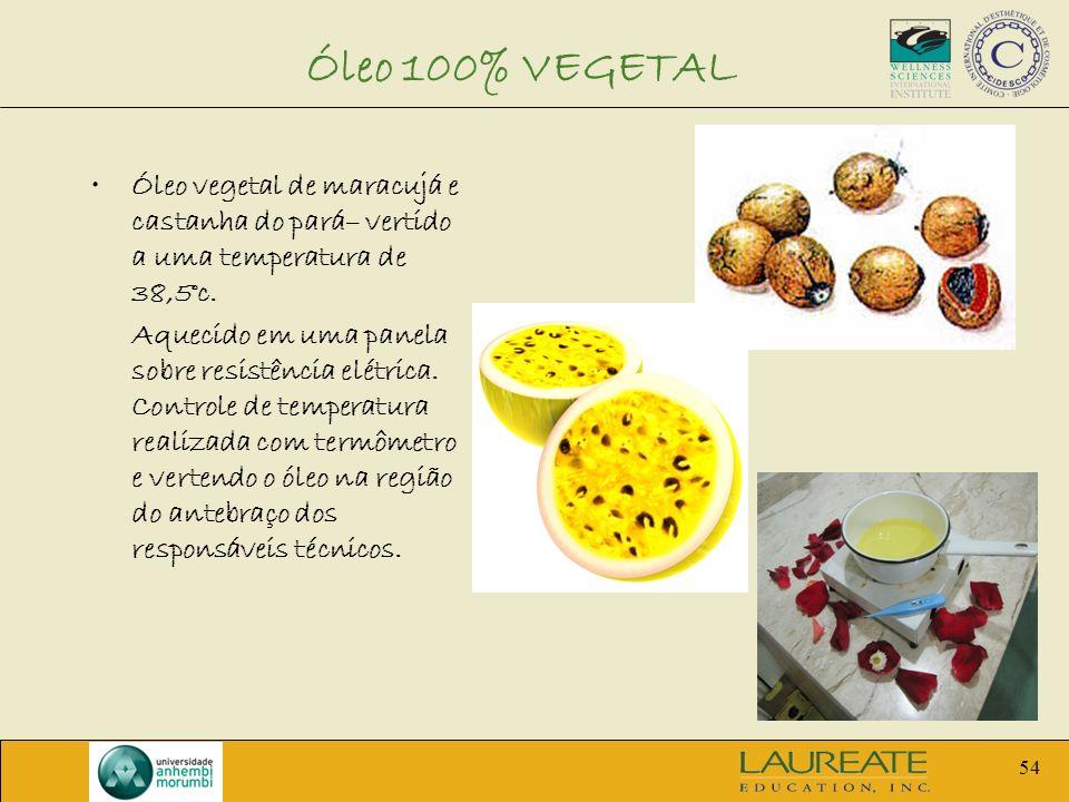 Óleo 100% VEGETAL Óleo vegetal de maracujá e castanha do pará– vertido a uma temperatura de 38,5°c.