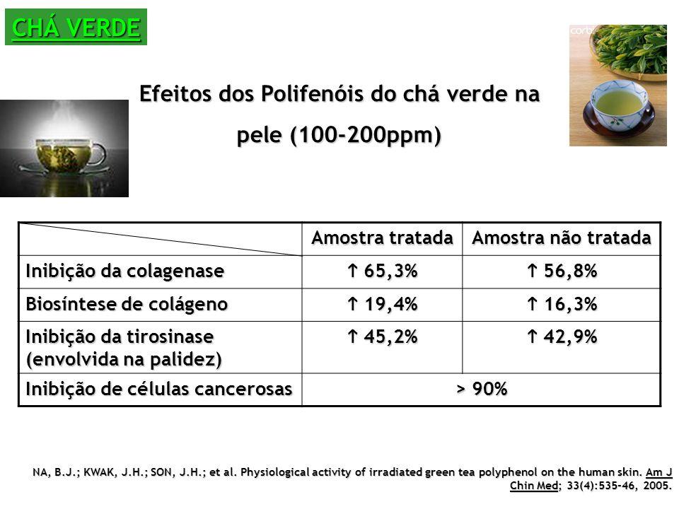 Efeitos dos Polifenóis do chá verde na pele (100-200ppm)