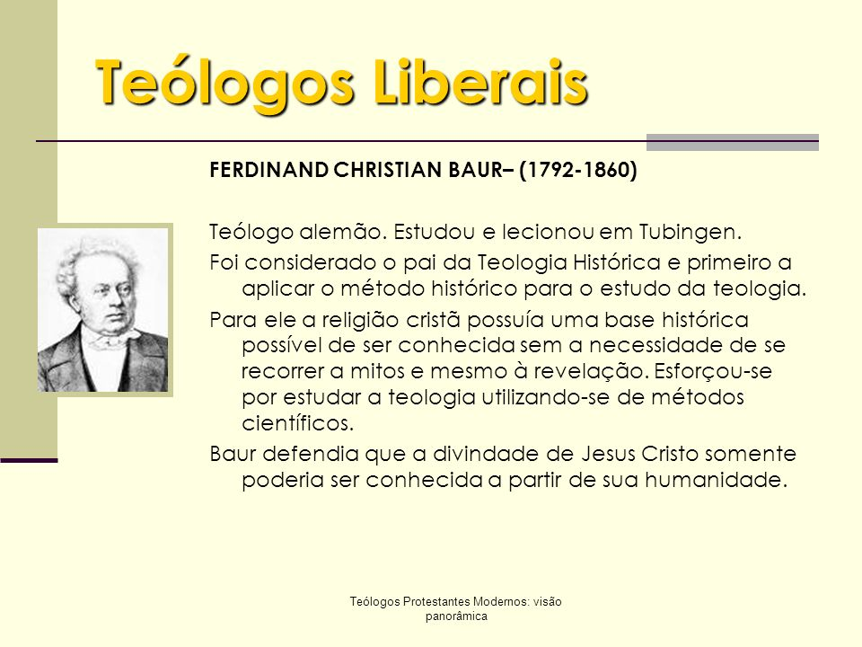Teólogos Protestantes Modernos: visão panorâmica