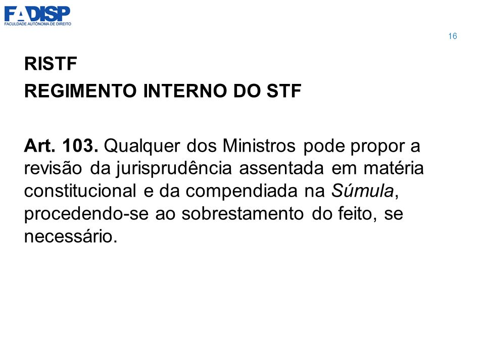 REGIMENTO INTERNO DO STF
