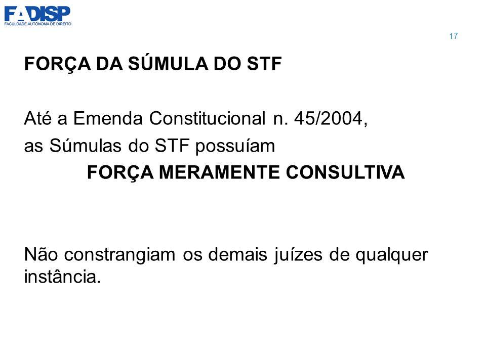 Até a Emenda Constitucional n. 45/2004, as Súmulas do STF possuíam