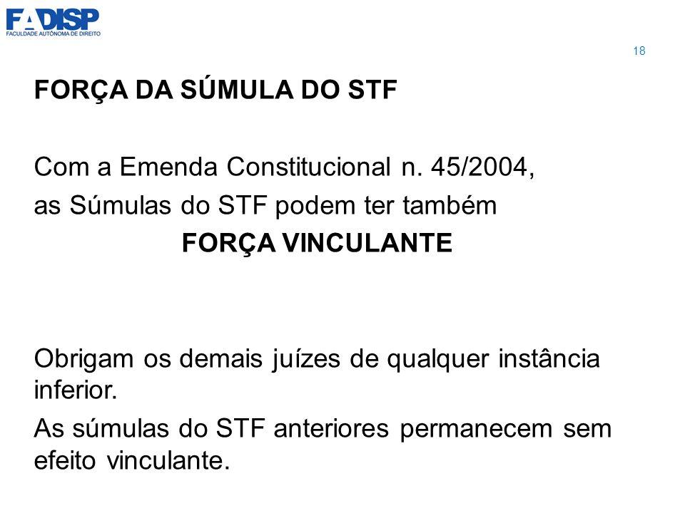 Com a Emenda Constitucional n. 45/2004,