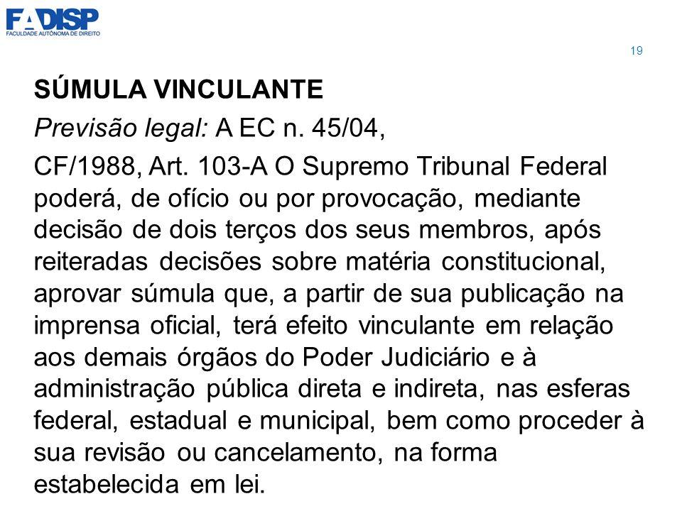 SÚMULA VINCULANTE Previsão legal: A EC n. 45/04,