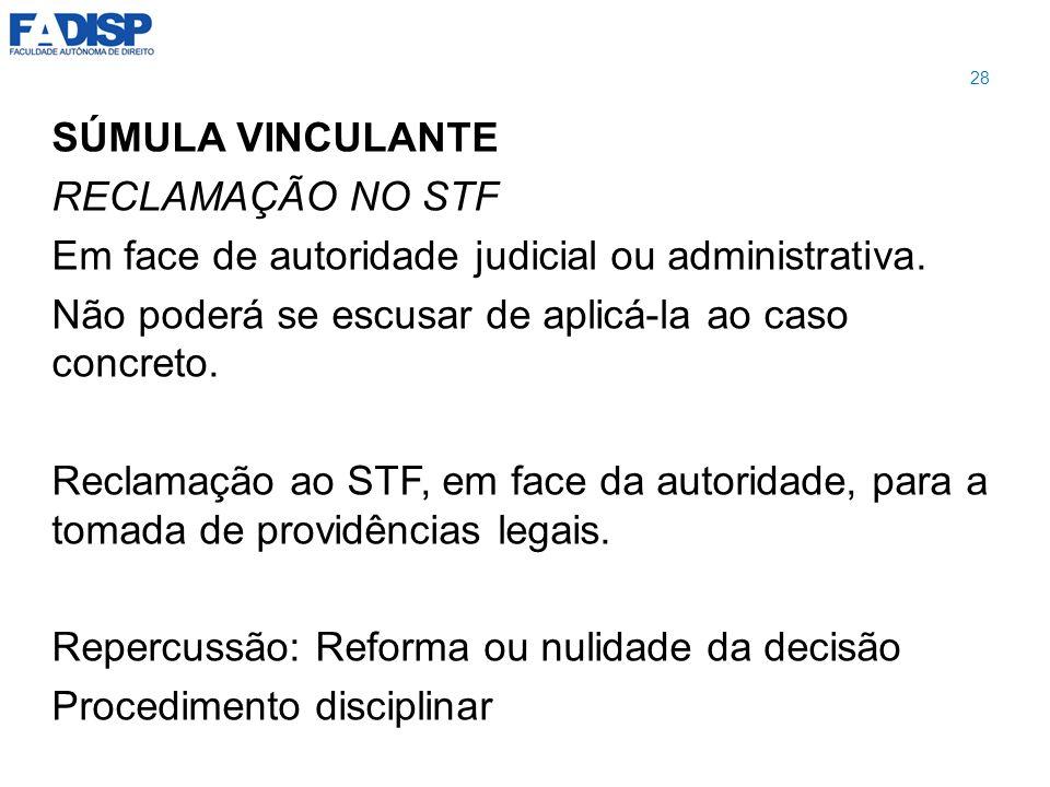 Em face de autoridade judicial ou administrativa.
