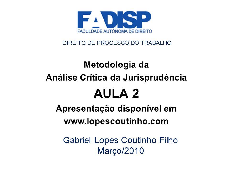 Análise Crítica da Jurisprudência Apresentação disponível em