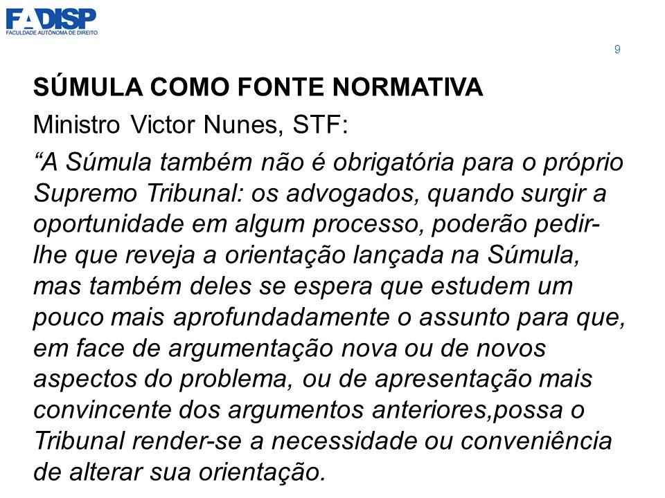 SÚMULA COMO FONTE NORMATIVA Ministro Victor Nunes, STF: