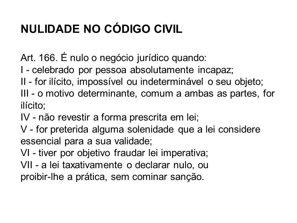 NULIDADE NO CÓDIGO CIVIL Art. 166