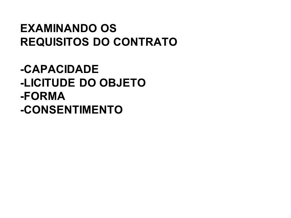 EXAMINANDO OS REQUISITOS DO CONTRATO -CAPACIDADE -LICITUDE DO OBJETO -FORMA -CONSENTIMENTO