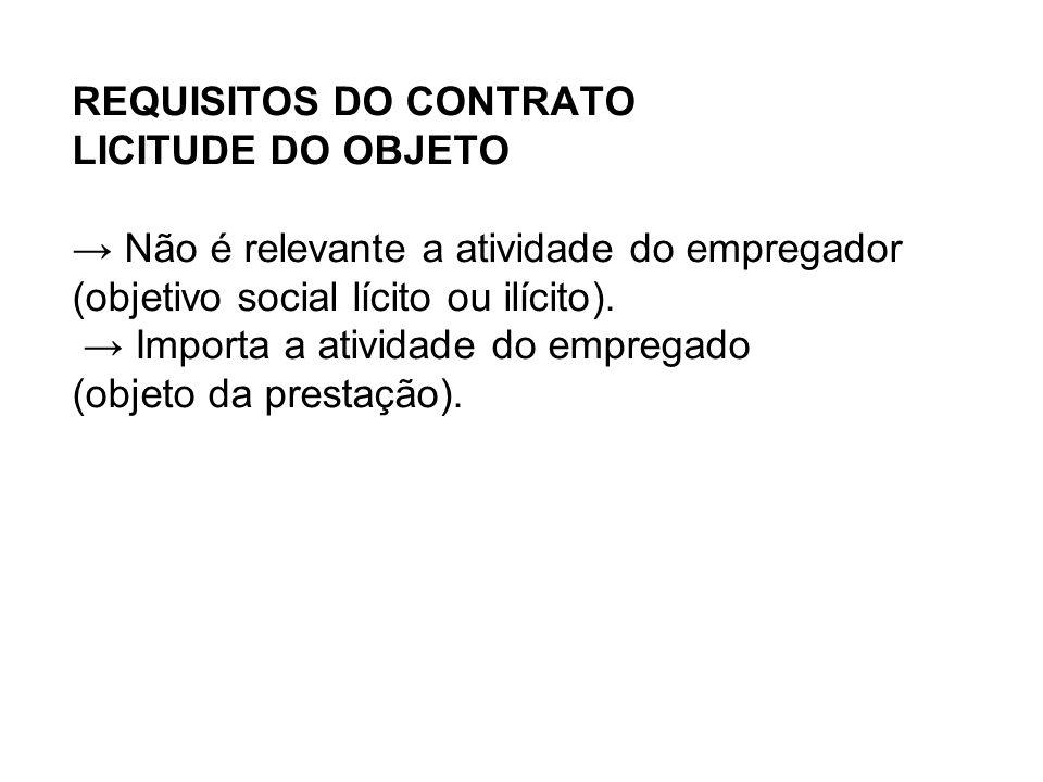 REQUISITOS DO CONTRATO LICITUDE DO OBJETO → Não é relevante a atividade do empregador (objetivo social lícito ou ilícito).