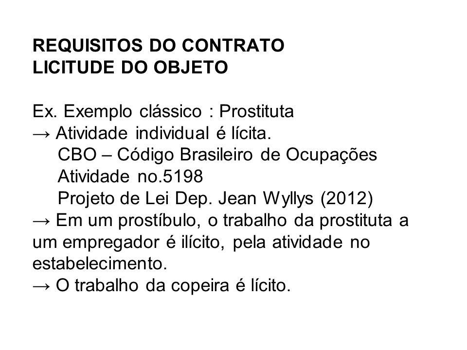REQUISITOS DO CONTRATO LICITUDE DO OBJETO Ex