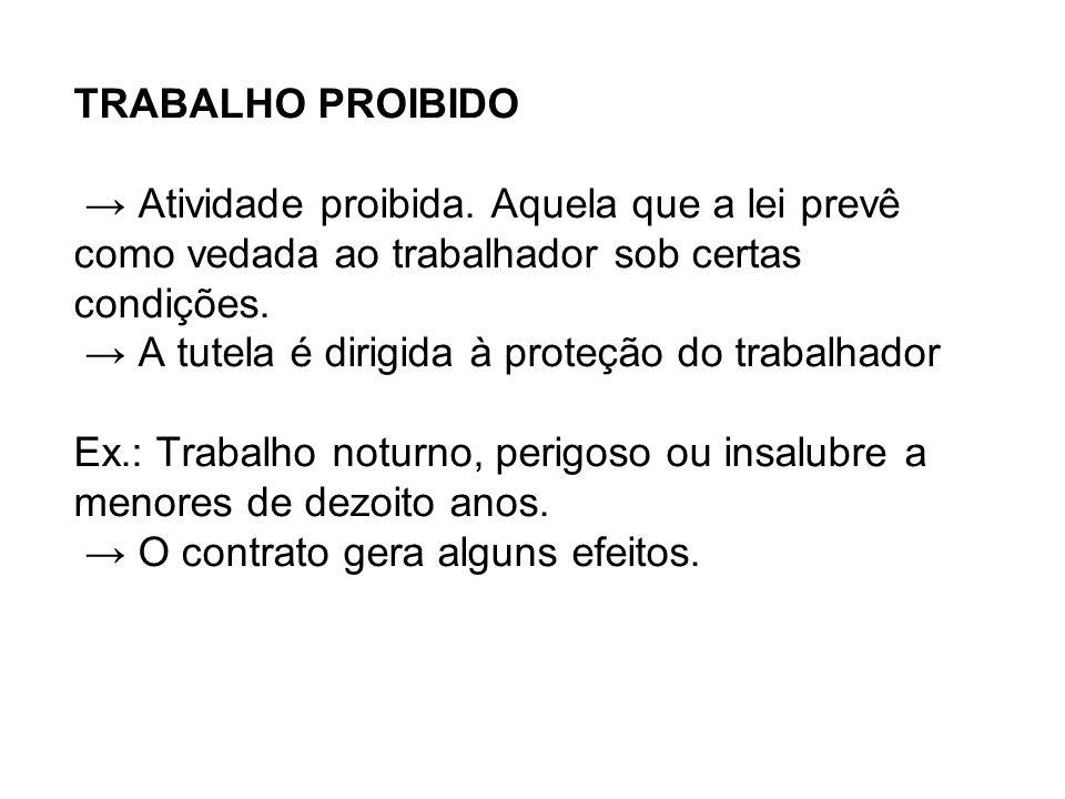 TRABALHO PROIBIDO → Atividade proibida