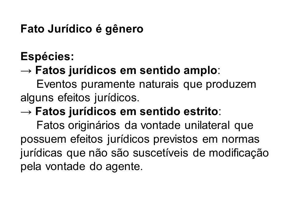 Fato Jurídico é gênero Espécies: → Fatos jurídicos em sentido amplo: Eventos puramente naturais que produzem alguns efeitos jurídicos.