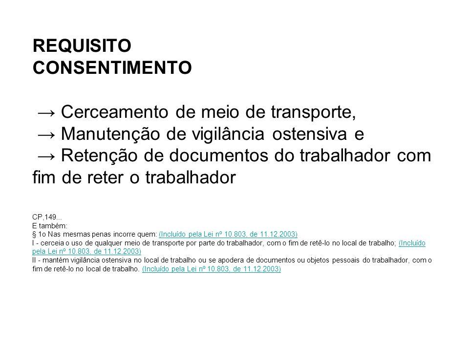 REQUISITO CONSENTIMENTO → Cerceamento de meio de transporte, → Manutenção de vigilância ostensiva e → Retenção de documentos do trabalhador com fim de reter o trabalhador CP,149...