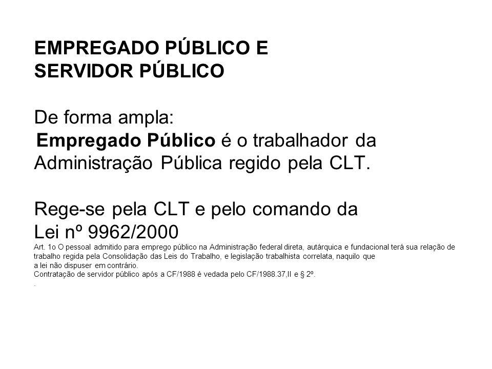 EMPREGADO PÚBLICO E SERVIDOR PÚBLICO De forma ampla: Empregado Público é o trabalhador da Administração Pública regido pela CLT.