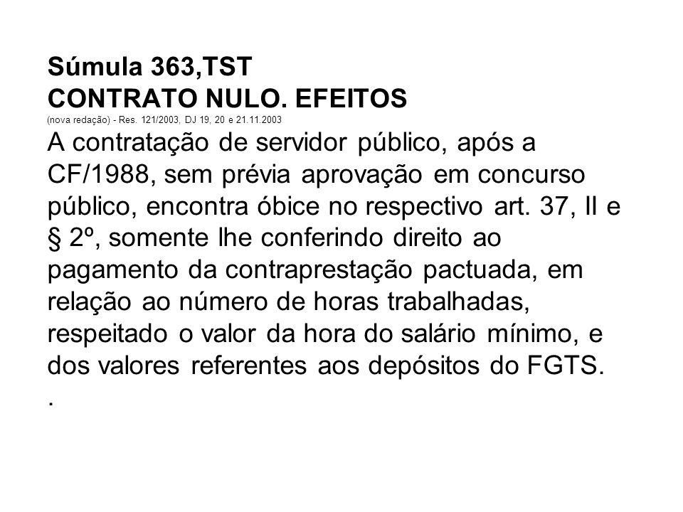 Súmula 363,TST CONTRATO NULO. EFEITOS (nova redação) - Res