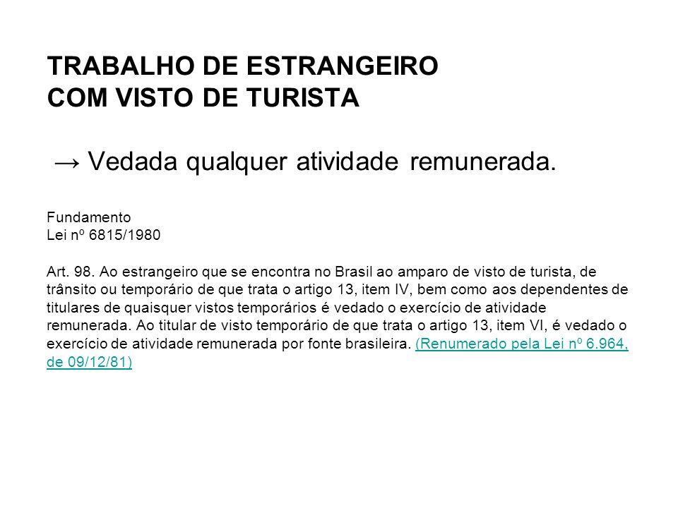 TRABALHO DE ESTRANGEIRO COM VISTO DE TURISTA → Vedada qualquer atividade remunerada.