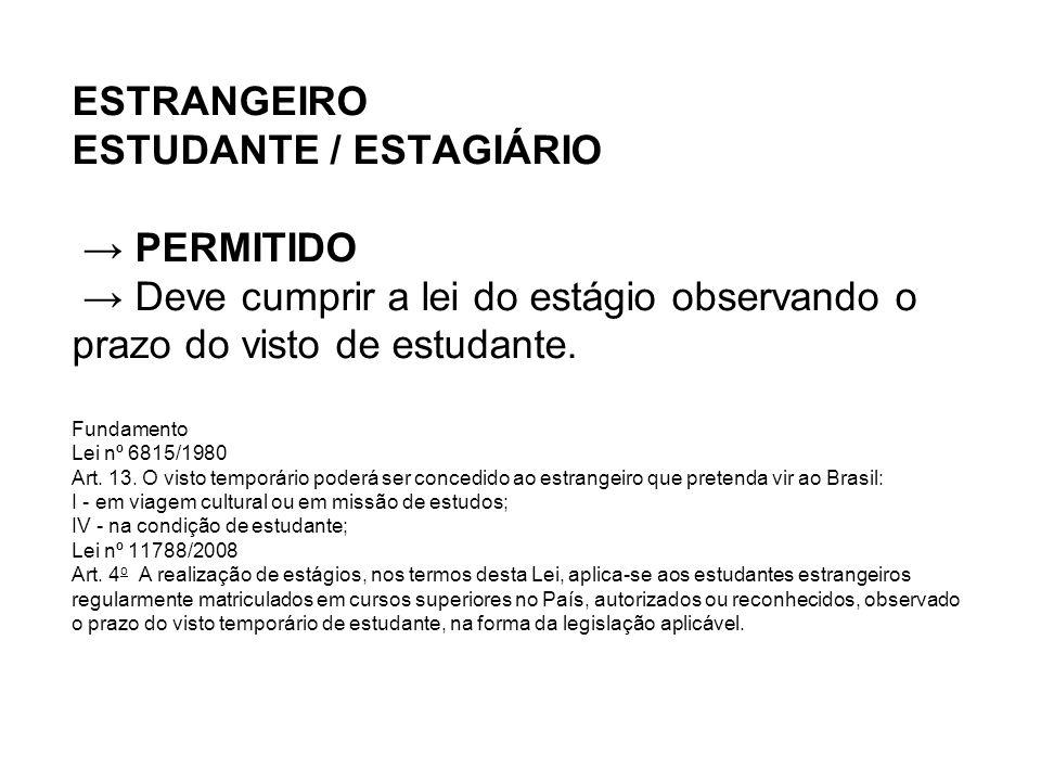 ESTRANGEIRO ESTUDANTE / ESTAGIÁRIO → PERMITIDO → Deve cumprir a lei do estágio observando o prazo do visto de estudante.