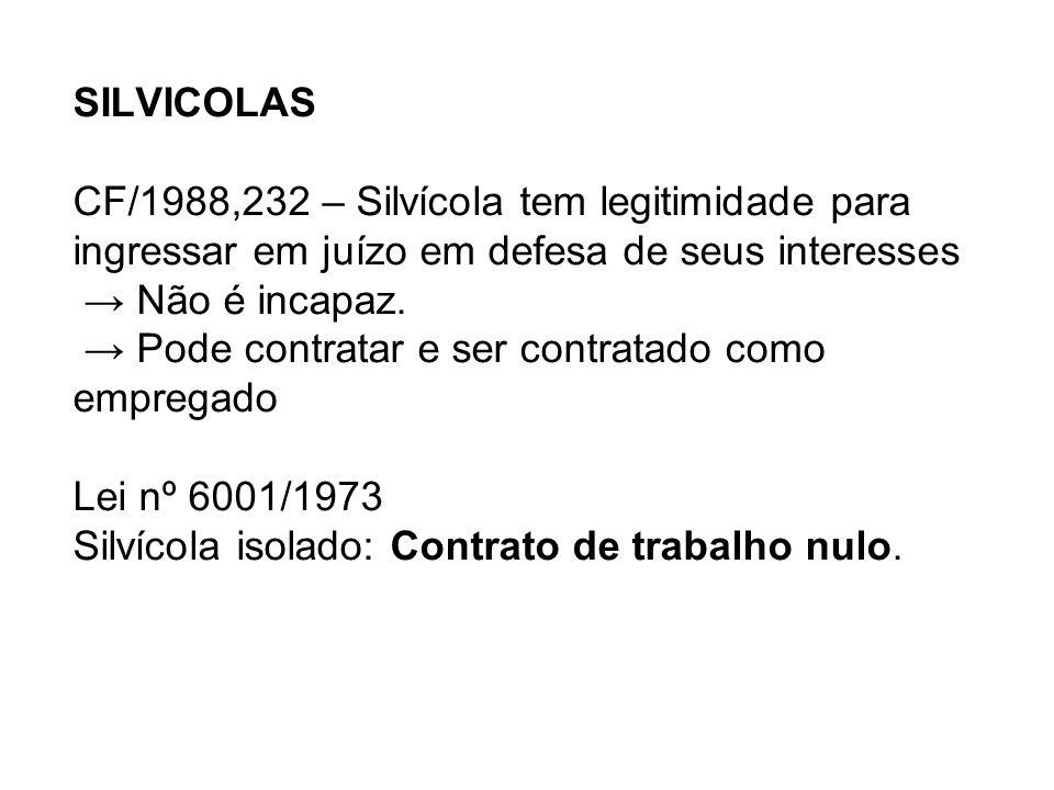 SILVICOLAS CF/1988,232 – Silvícola tem legitimidade para ingressar em juízo em defesa de seus interesses → Não é incapaz.