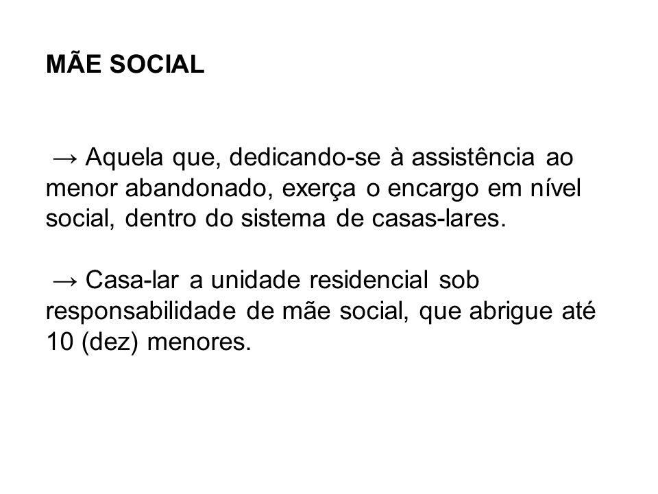 MÃE SOCIAL → Aquela que, dedicando-se à assistência ao menor abandonado, exerça o encargo em nível social, dentro do sistema de casas-lares.