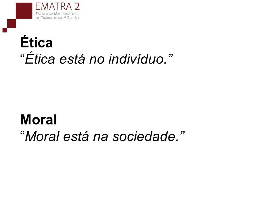 Ética Ética está no indivíduo. Moral Moral está na sociedade.