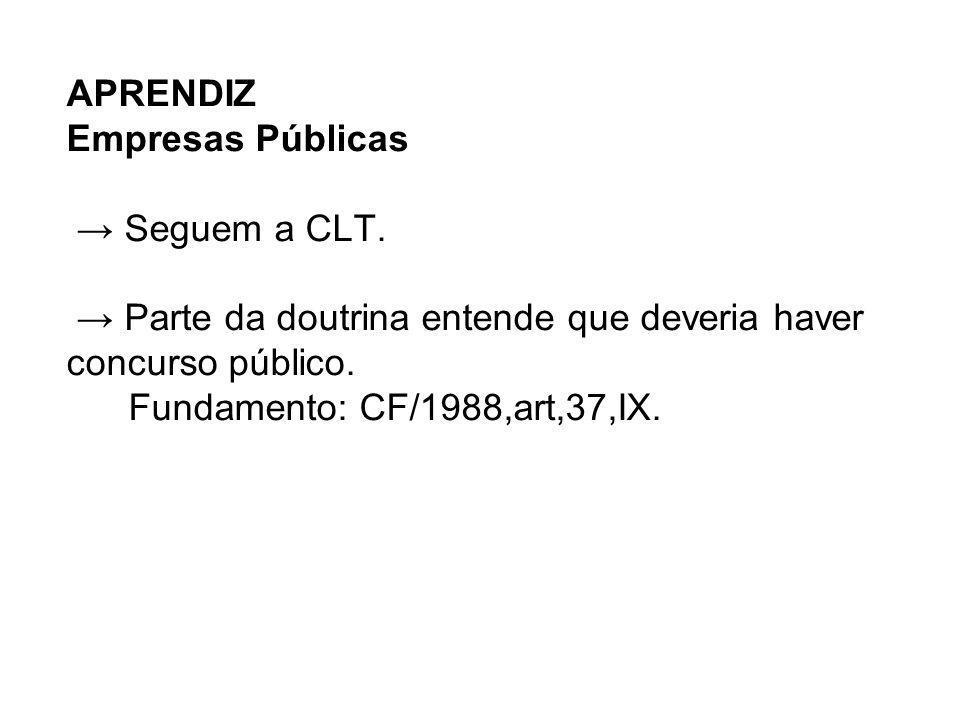 APRENDIZ Empresas Públicas → Seguem a CLT