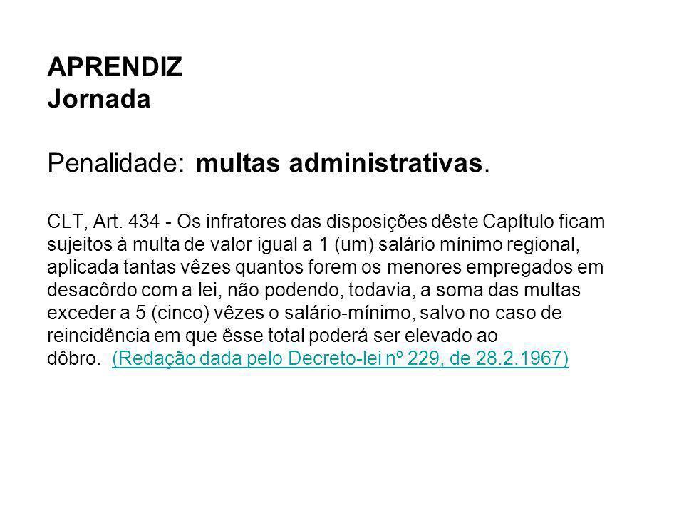 APRENDIZ Jornada Penalidade: multas administrativas. CLT, Art