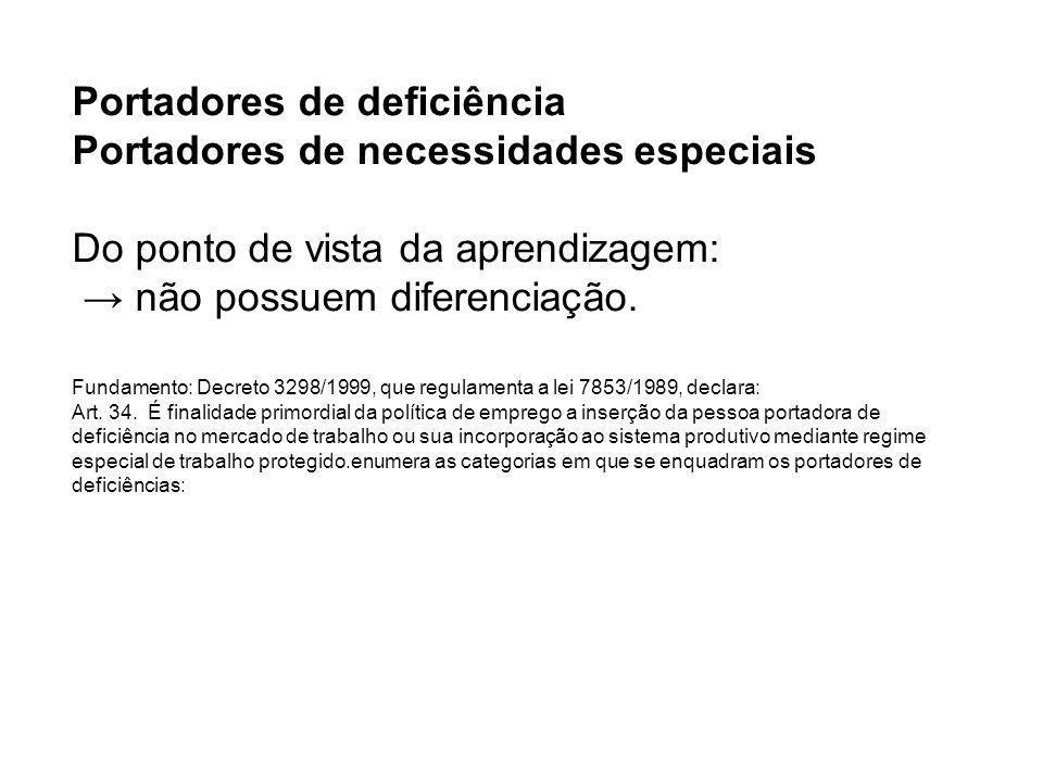 Portadores de deficiência Portadores de necessidades especiais Do ponto de vista da aprendizagem: → não possuem diferenciação.