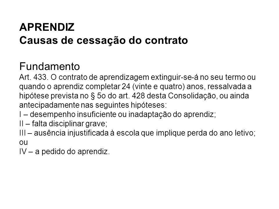 APRENDIZ Causas de cessação do contrato Fundamento Art. 433