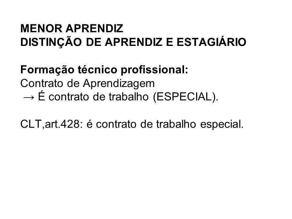 MENOR APRENDIZ DISTINÇÃO DE APRENDIZ E ESTAGIÁRIO Formação técnico profissional: Contrato de Aprendizagem → É contrato de trabalho (ESPECIAL).