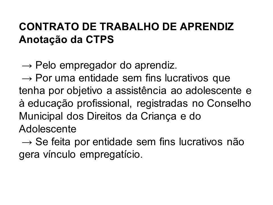 CONTRATO DE TRABALHO DE APRENDIZ Anotação da CTPS → Pelo empregador do aprendiz.