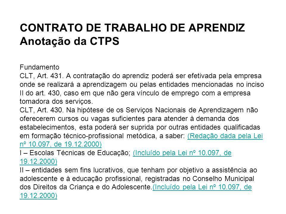 CONTRATO DE TRABALHO DE APRENDIZ Anotação da CTPS Fundamento CLT, Art