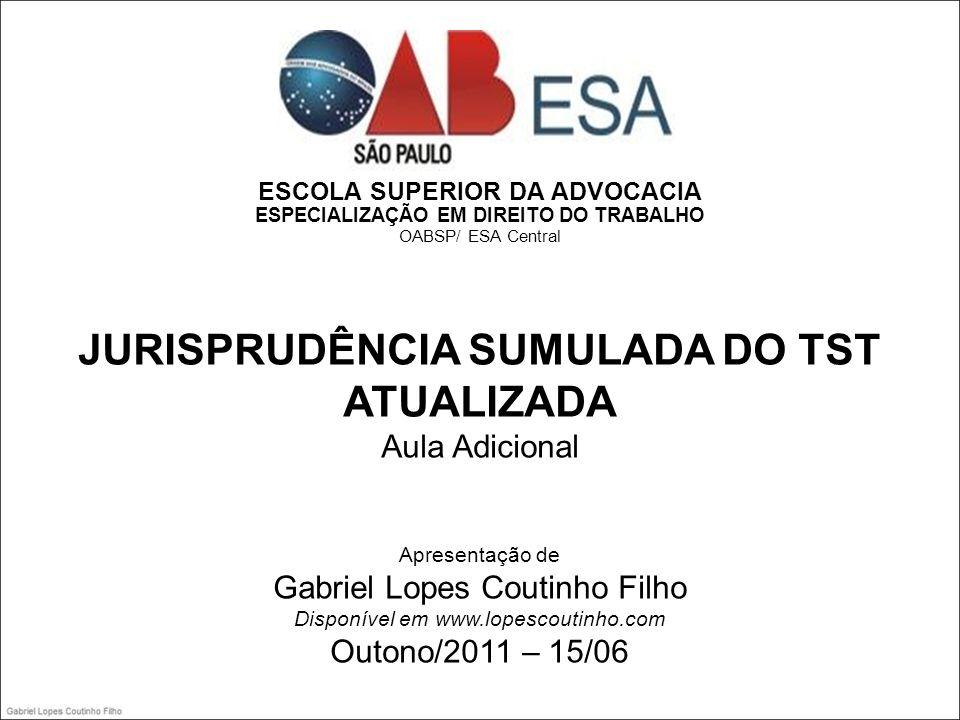 JURISPRUDÊNCIA SUMULADA DO TST ATUALIZADA