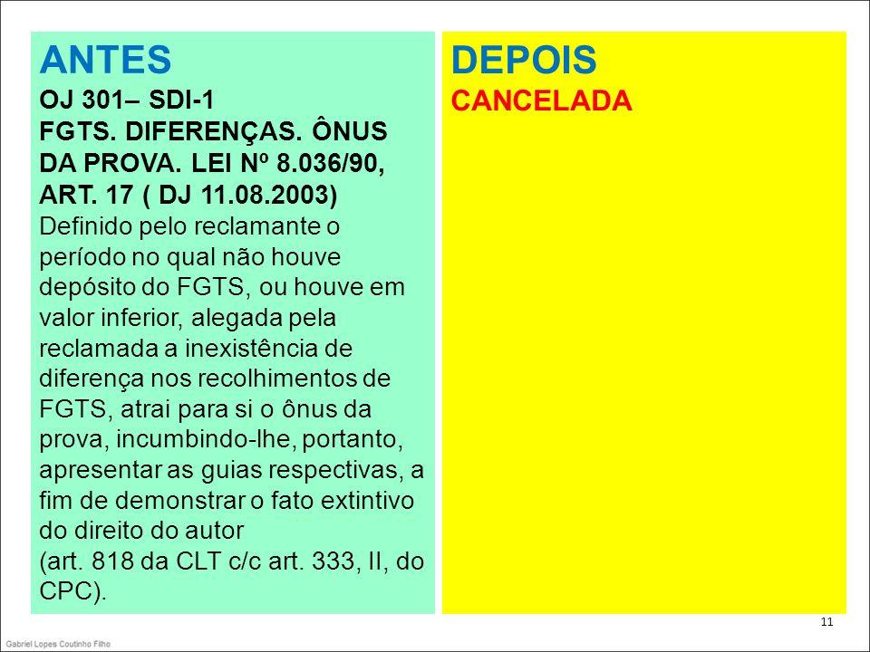 ANTES DEPOIS CANCELADA OJ 301– SDI-1