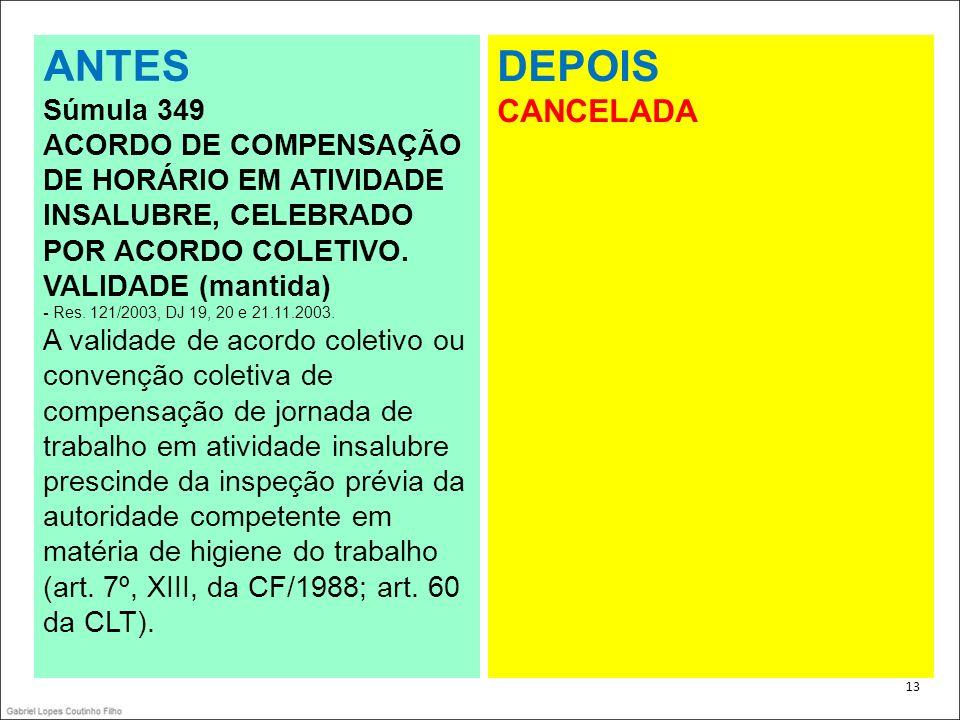 ANTES DEPOIS CANCELADA Súmula 349