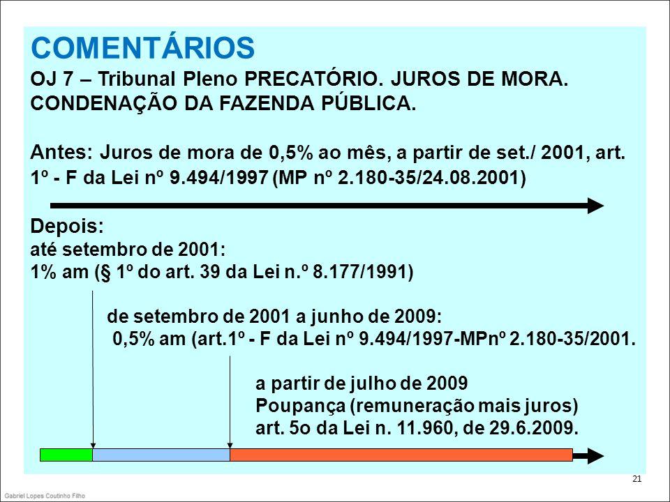 .COMENTÁRIOS. OJ 7 – Tribunal Pleno PRECATÓRIO. JUROS DE MORA. CONDENAÇÃO DA FAZENDA PÚBLICA.