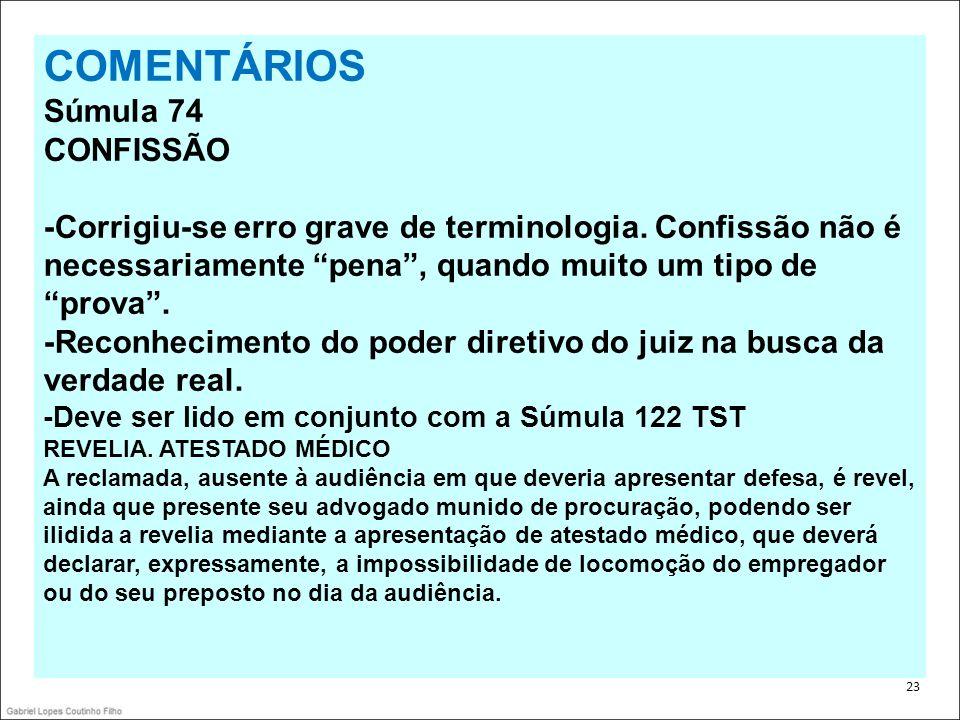 COMENTÁRIOS Súmula 74 CONFISSÃO