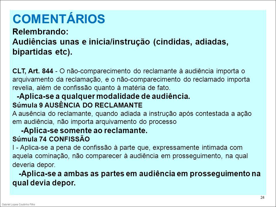 COMENTÁRIOS Relembrando: