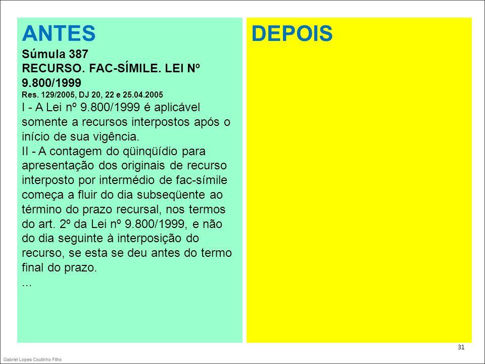ANTES DEPOIS Súmula 387 RECURSO. FAC-SÍMILE. LEI Nº 9.800/1999