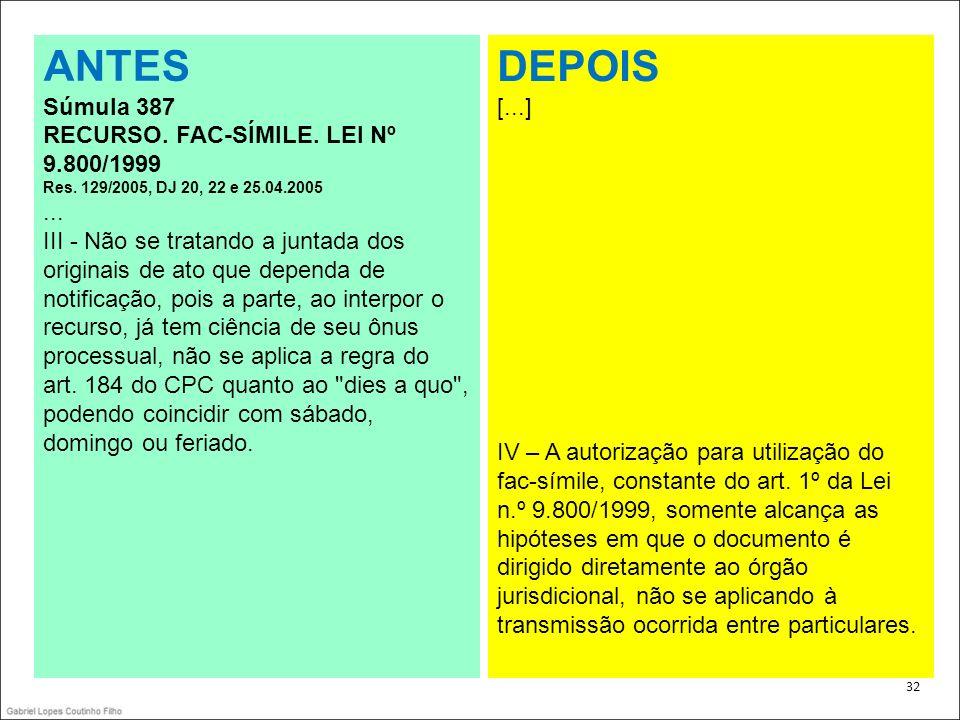 ANTES DEPOIS Súmula 387 RECURSO. FAC-SÍMILE. LEI Nº 9.800/1999 ...