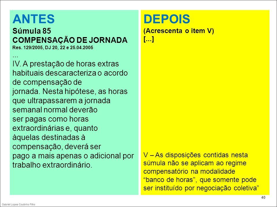 . ANTES. Súmula 85. COMPENSAÇÃO DE JORNADA Res. 129/2005, DJ 20, 22 e 25.04.2005. ...