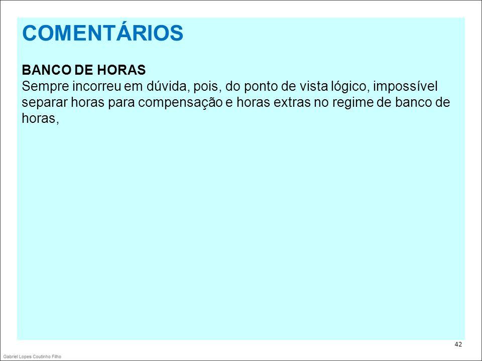 COMENTÁRIOS BANCO DE HORAS