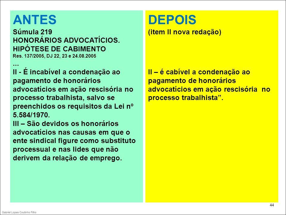 ANTES DEPOIS Súmula 219 HONORÁRIOS ADVOCATÍCIOS. HIPÓTESE DE CABIMENTO