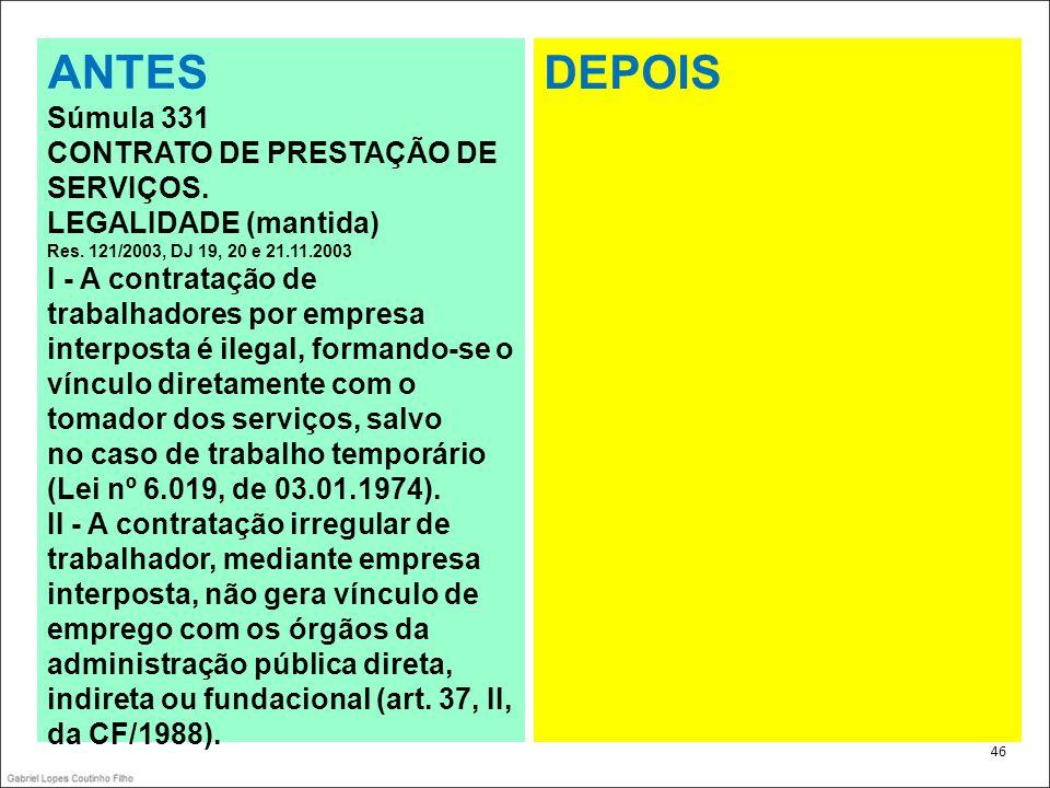 ANTES DEPOIS Súmula 331 CONTRATO DE PRESTAÇÃO DE SERVIÇOS.
