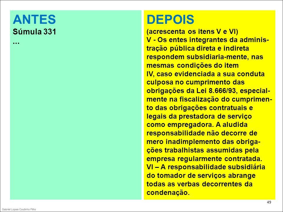ANTES DEPOIS Súmula 331 ... (acrescenta os itens V e VI)