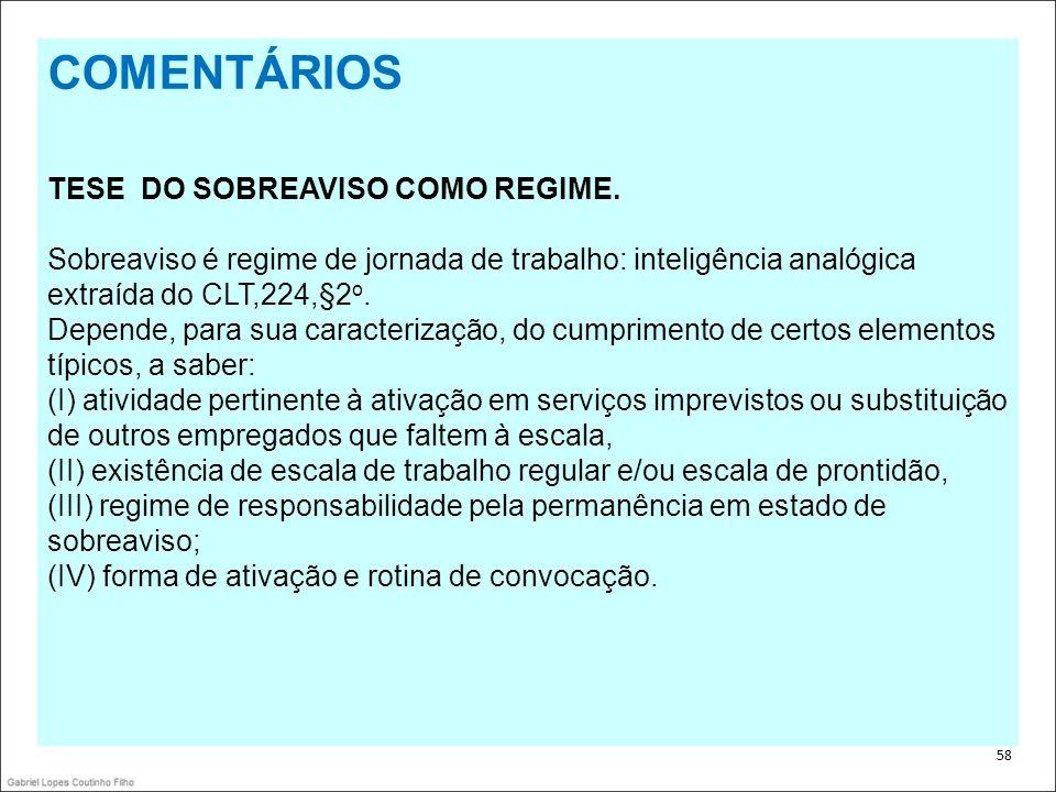 COMENTÁRIOS TESE DO SOBREAVISO COMO REGIME.