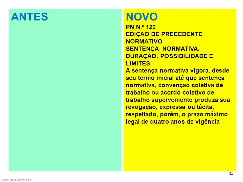 ANTES NOVO PN N.º 120 EDIÇÃO DE PRECEDENTE NORMATIVO